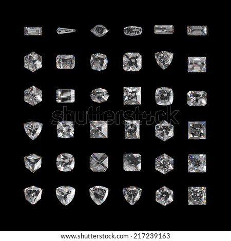 3d crystals, assorted cut gemstones, clear jewels, diamonds and brilliants isolated on black background - stock photo
