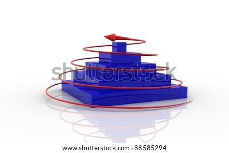 3d Cube and business Graph on a white background - stock photo