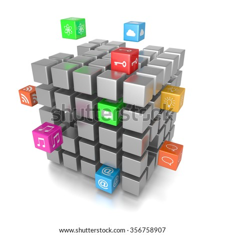 3D Cube App Icons on White Background 3D Illustration - stock photo