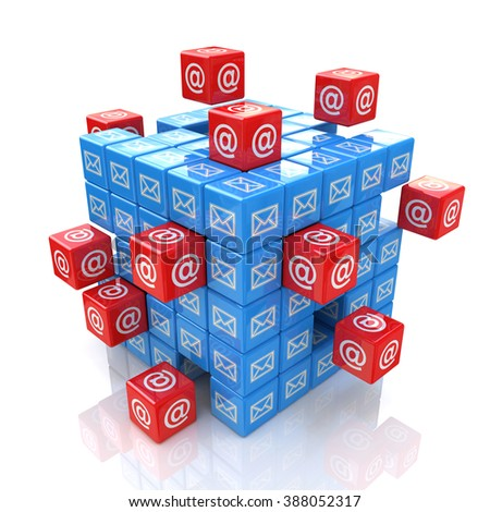 3D cube Email in the design of information related to internet - stock photo