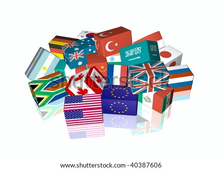 3d cube flags of The Group of Twenty Finance Ministers and Central Bank Governors, called G-20 - stock photo