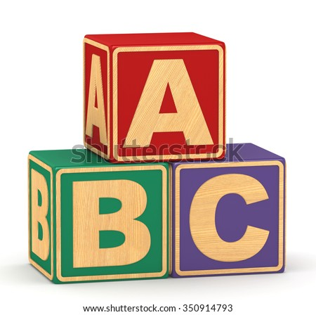 3d cubes alphabet on a white background - stock photo