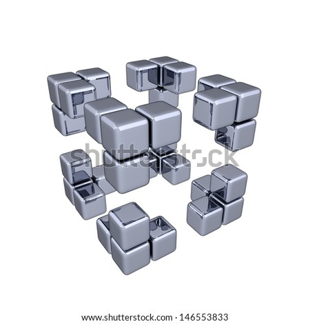 3D Cubes - Corners - stock photo