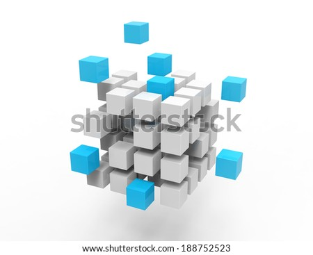 3d cubes on white background - stock photo
