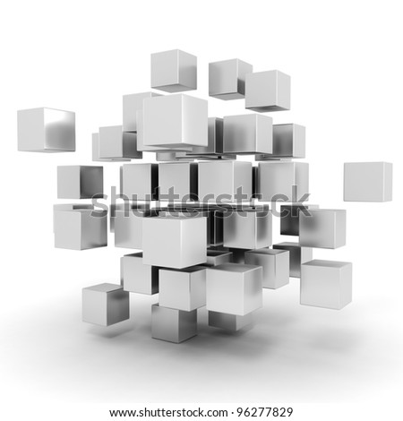 3d cubes puzzle on white background - stock photo