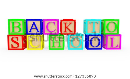 3D cubes with letters spelling back to school - isolated - stock photo
