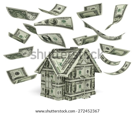 3D. Currency, House, Real Estate. - stock photo