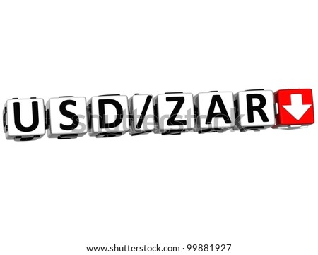3D Currency USD ZAR rate concept symbol button on white background - stock photo