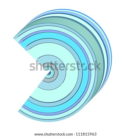 3d curved abstract shape in blue on white - stock photo