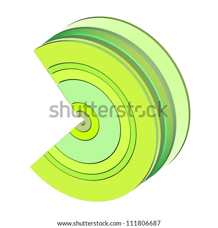3d curved rectangular c shapes in green yellow on white - stock photo