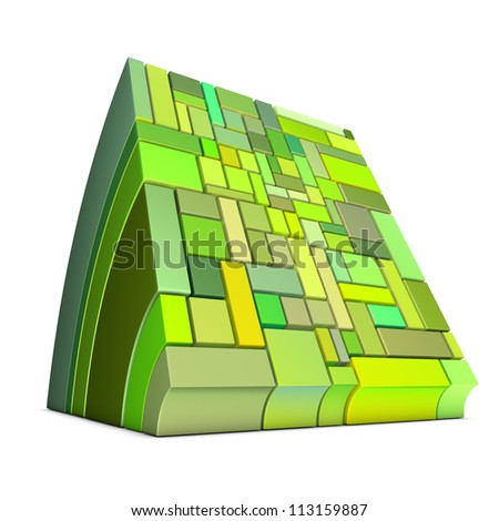 3d curved rectangular shapes in green on white - stock photo