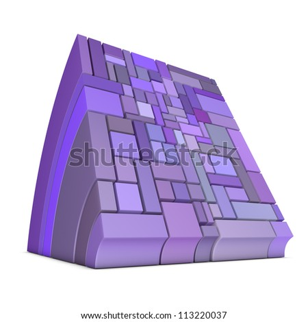 3d curved rectangular shapes in purple on white - stock photo