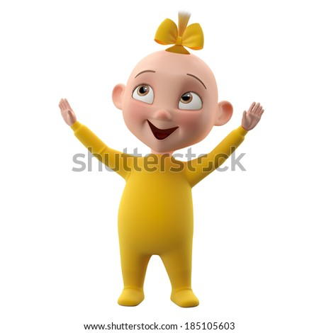 3d cute girl character, cheerful toddler in pajamas, a beautiful baby icon isolated on a white background, cheering lifting hands up - stock photo