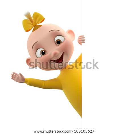 3d cute girl character, cheerful toddler in pajamas, a beautiful baby icon isolated on a white background, waving hands, peeping from behind a white sheet of paper  - stock photo