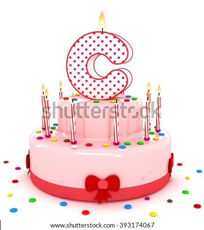 """3d cute letter """"C"""" rendering colorful birthday cake alphabet with sweet candle and decorate ribbon  isolated over white background - stock photo"""