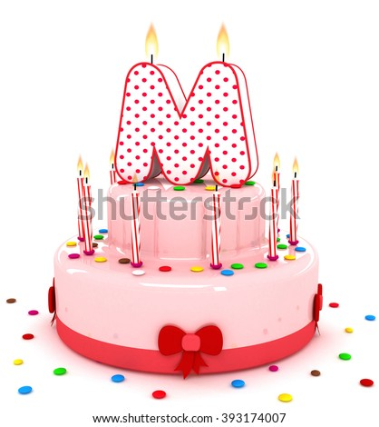 """3d cute letter """"M"""" rendering colorful birthday cake alphabet with sweet candle and decorate ribbon  isolated over white background - stock photo"""