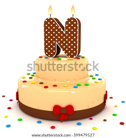 """3d cute letter """"N"""" rendering colorful with chocolate birthday cake alphabet with sweet polka dot candle and decorate red ribbon isolated over white background - stock photo"""