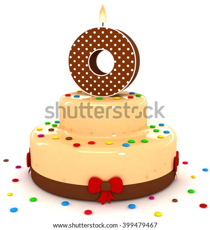 """3d cute letter """"O"""" rendering colorful with chocolate birthday cake alphabet with sweet polka dot candle and decorate red ribbon isolated over white background - stock photo"""