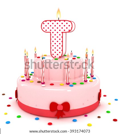 """3d cute letter """"T"""" rendering colorful birthday cake alphabet with sweet candle and decorate ribbon  isolated over white background - stock photo"""
