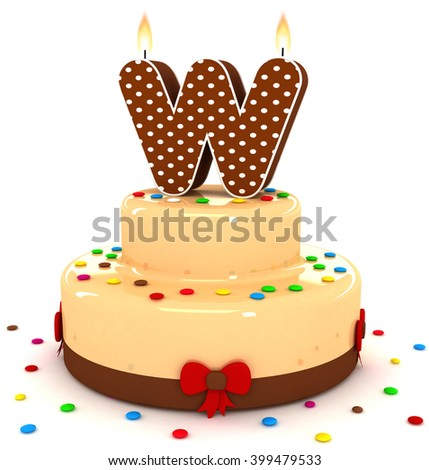 """3d cute letter """"W"""" rendering colorful with chocolate birthday cake alphabet with sweet polka dot candle and decorate red ribbon isolated over white background - stock photo"""