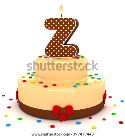 """3d cute letter """"Z"""" rendering colorful with chocolate birthday cake alphabet with sweet polka dot candle and decorate red ribbon isolated over white background - stock photo"""