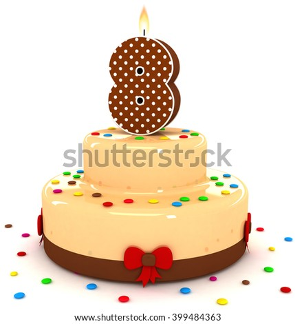 3d cute number 8 eight rendering colorful with chocolate birthday cake with sweet polka dot number year brown candle and decorate red ribbon isolated over white party background - stock photo
