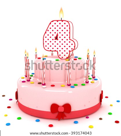 """3d cute number """"4"""" four rendering colorful birthday cake  year with sweet candle and decorate ribbon  isolated over white background - stock photo"""
