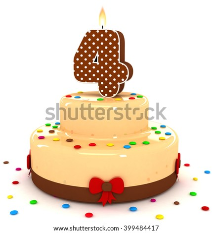3d cute number 4 four rendering colorful with chocolate birthday cake with sweet polka dot number year brown candle and decorate red ribbon isolated over white party background - stock photo