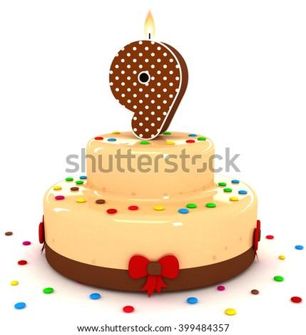 3d cute number 9 nine rendering colorful with chocolate birthday cake with sweet polka dot number year brown candle and decorate red ribbon isolated over white party background - stock photo