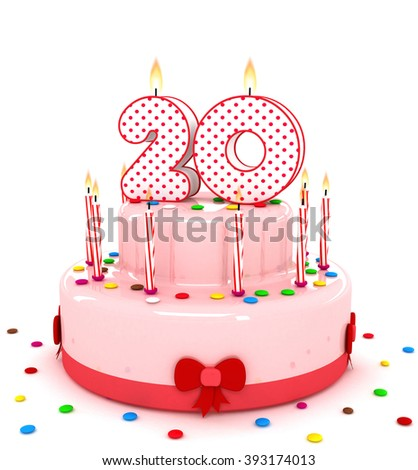 """3d cute number """""""" rendering colorful birthday cake  year with sweet candle and decorate ribbon  isolated over white background - stock photo"""