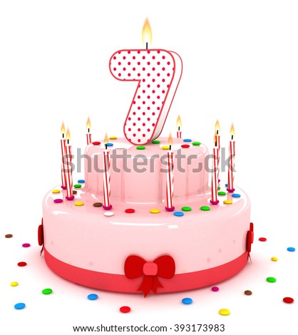 """3d cute number """"7"""" seven rendering colorful birthday cake  year with sweet candle and decorate ribbon  isolated over white background - stock photo"""