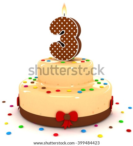 3d cute number 3 three rendering colorful with chocolate birthday cake with sweet polka dot number year brown candle and decorate red ribbon isolated over white party background - stock photo