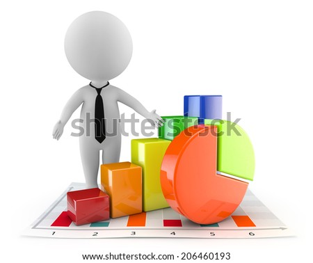 3d cute people - financial document and graph isolated white background - stock photo