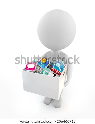 3d cute people - holding application software box isolated white background - stock photo