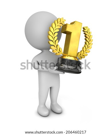 3d cute people - holding golden first place trophy isolated white background - stock photo
