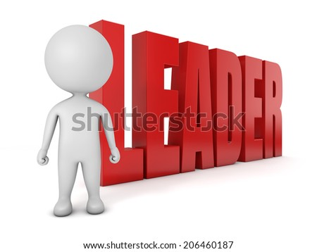 3d cute people- leader with a red leader text isolated white background - stock photo