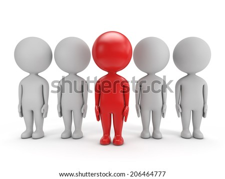 3d cute people - red leader and team  isolated white background - stock photo