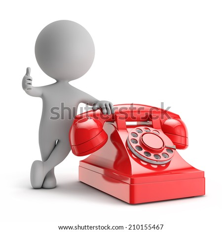 3d cute people - standing with red phone contact us concept isolated white background - stock photo