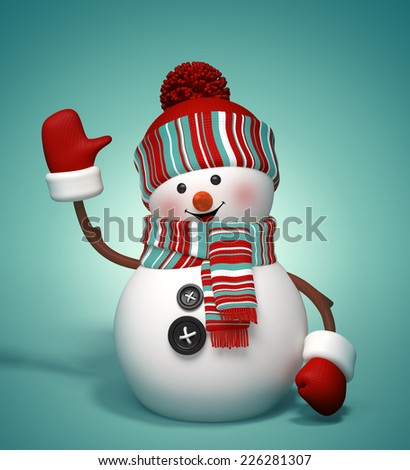 3d cute snowman clip art, winter holiday symbol, isolated illustration - stock photo