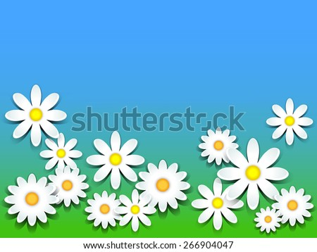 3D daisies over green grass and blue sky background, copy space - stock photo