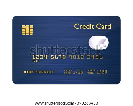 3d dark blue credit card isolated over white background - stock photo