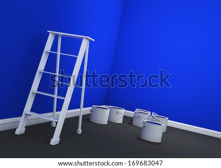 3d dark blue wall painting, ladder, paint cans  - stock photo