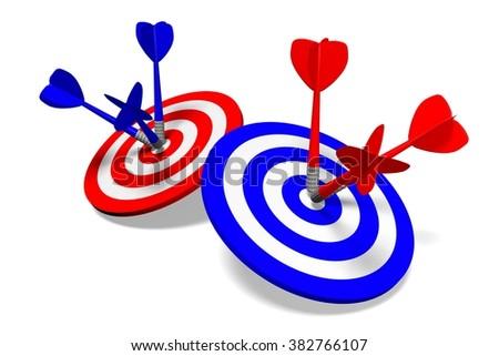 3D darts concept - success, goal, target. - stock photo