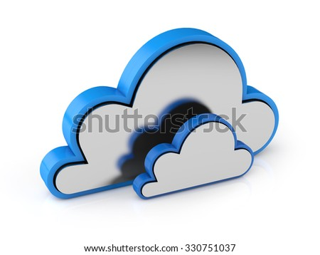 3d data cloud isolated white background with clipping path - stock photo