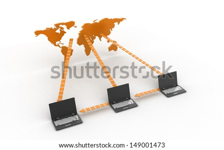 3d Data transfering concept - stock photo