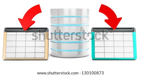 3d database saving data in tables on white background - stock photo