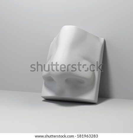 3d David sculpture nose detail, classical drawing anatomy object - stock photo