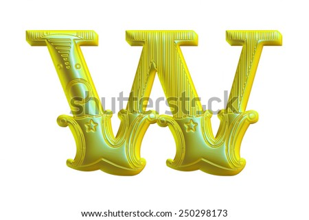 3D Decorative floral alphabet W on isolated white background. - stock photo