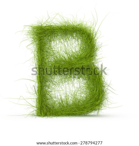3d decorative nature letter B - stock photo