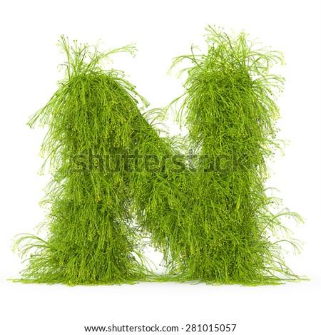 3d decorative nature letter N - stock photo